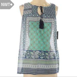 NWT Small See-Through Boho Tassle Sleeveless Top